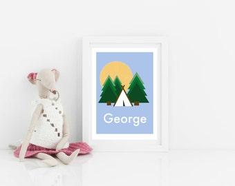 Customisable personalised art print, kids art print, littler explorers camping print, nursery art, scandi kids bedroom art