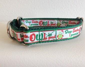 "Martingale Dog Collar, Medium Christmas Martingale Collar, Medium ""Dear Santa"" Martingale Dog Collar, Medium Adjustable Dog Collar"