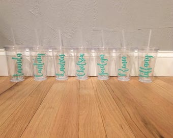 Personalized clear plastic tumbler | bridesmaid gifts | bachelorette party