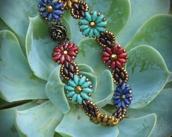 Picasso Flowers Superduo Czech Glass Bracelet
