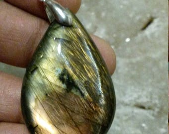 LABRADORITE bronze 16.75 Gr-drop pendant