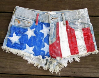 Girls Hand Painted American Flag Shorts Upcycled Abercrombie Kids Jean Shorts Size 14
