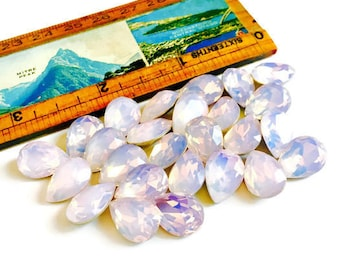 Pink Opal Glass Gems 14x10mm Rose Water Pear