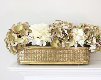Vintage Basketweave Brass Planter