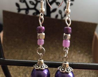 Purple Drop Down Earrings