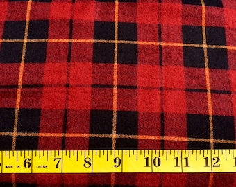 Cloth Works Red Black Plaid Flannel Cotton Fabric By the Yard