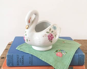 White and Floral Ceramic Swan Planter - bird planter - boho bohemain eclectic jungalow style decor home - air plant - decal trinket #0441
