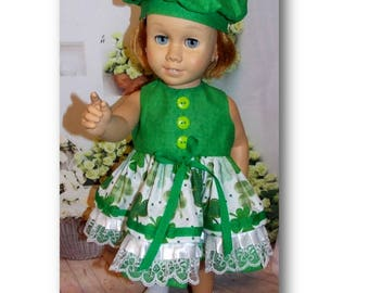 "Chatty Cathy doll not included. Green clover Dress & Newsboy Hat fits dolls  the size of the 20"" tall Chatty Cathy doll. Toy doll clothes"