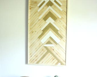 Wooden table / modern marquetry / Bohemian decor / white and gold
