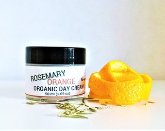 Rosemary day cream, orange day cream, organic facial moisturizer, organic skincare, face moisturizer, normal skin, moisturizing cream