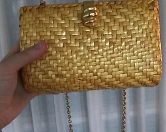 Vintage 80s Talbots Handbag with Long Gold Chain