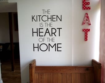 The Kitchen is the Heart of the Home, quotation Wall Sticker, Vinyl Decal