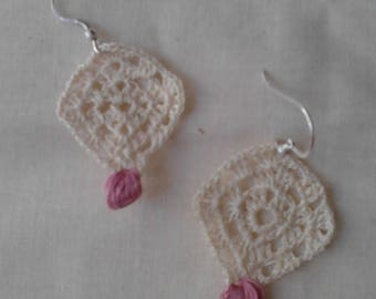 Crochet earrings and Indian Silver