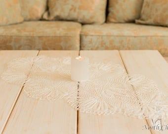 "White Lace Table Topper ""Amalia"""