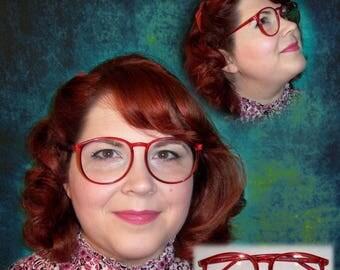 Vintage 70's 80's Eyeglasses Frames Reading Glasses Red