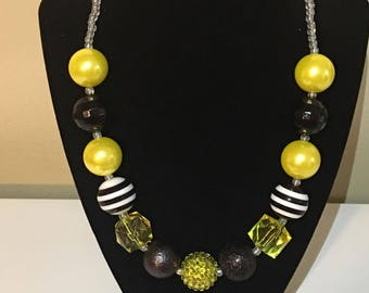 Black and Yellow BubbleGum Necklace