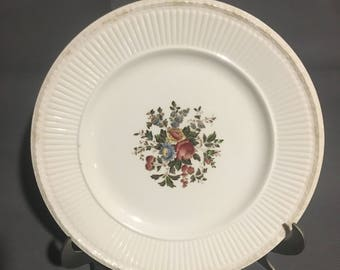 "Vintage Set of 2 Wedgewood Edme Conway Cream Colored 9"" Dinner Plate with Floral Design England"