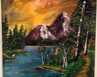 Dark Mountain Sunset - Large Painting