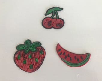 Fusible / Patch / badge Sequin cherry watermelon Strawberry