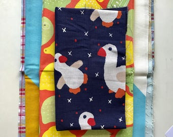 4 Quality leftover colourful fabrics for crafts and sewing projects - Good sizes!