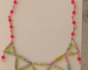 Artisan-made Bib Necklace in Pink and Green with Handmade Beads and Swarovski Pearls