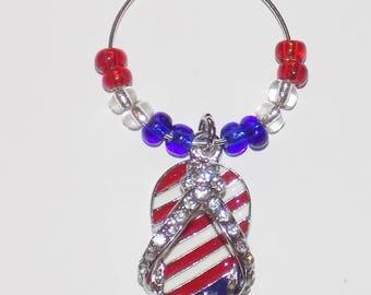 Patriotic Wine Glass Charms - Labor Day Wine Glass Charms  - Gift for Her- Gift for Him - Wine Glass Accessories