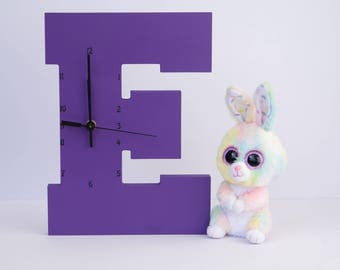 "Wooden Letter ""E"" Clock 