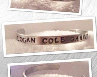 Personalized Aluminum Hand Stamped Cuff Bracelet