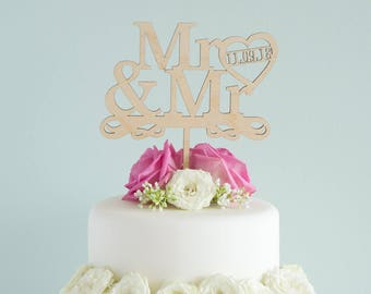 Personalized gay wedding cake topper. Custom made cake decoration Mr & Mr add wedding date. Gay wedding Civil Partnership LGBT L110