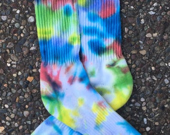 Bright colored tie dye Nike socks