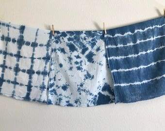3-Pack Hand-dyed Indigo Burp Cloths; Tie Dye Burp Cloths; Burp Cloths