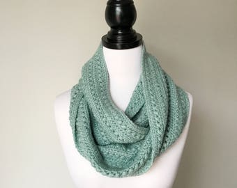 Ready to ship - Handmade Crochet Alpaca and Silk Infinity Scarf in Aqua