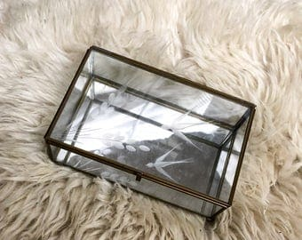 Etched Glass Curio/ Mirrored Jewelry Box