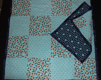 Owls, Baby Quilt, Tag-along, Baby Blanket, Patchwork Quilt, Throw, Lovie, Turquoise