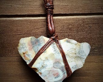Leather and Stone Pendant