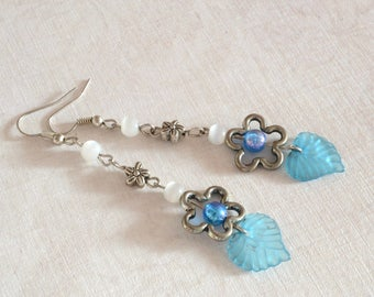 Romantic woman flower leaf earring Cat eye Dangle Drop antique silver charm Summer blue lucite fairy floral jewelry handcrafted gift for her
