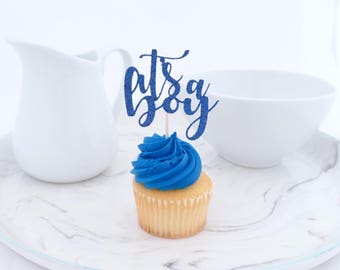 Baby Shower Cupcake Toppers, (12 ct) It's A Boy Cupcake Topper, Boy Baby Shower Decorations, Blue Baby Shower, Gender Reveal Party, Baby Boy