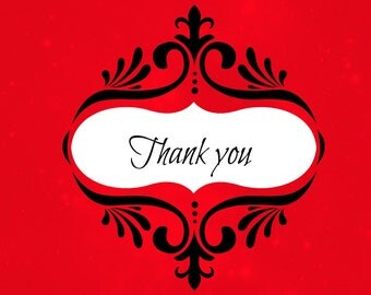 Thank You Note Postcard Card Red Fancy