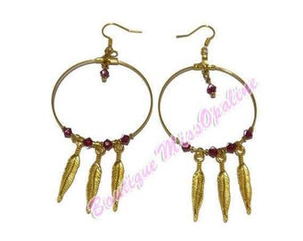 hoop earring style native Ruby and gold color