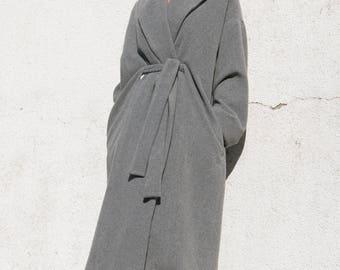 The Fold Coat . Gray Wool Coat .  Oversize Coat