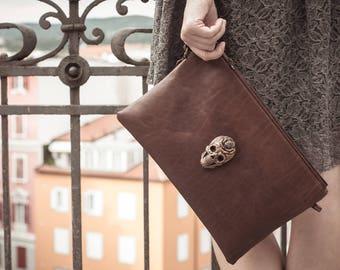 Brown  leather Clutch with bronze skull, iPad case, zipper clutch sugar skull