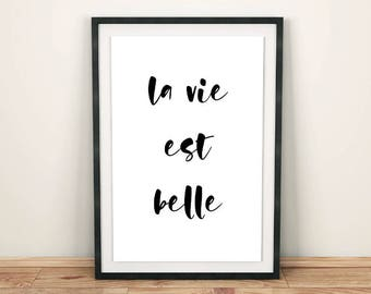 La vie est belle printable quote, French words printable poster, La vie est belle poster quote, French quote inspirational poster