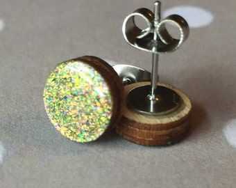 Stud Earrings // Green and Pink Glitter Earrings  // Nail Polish Earrings