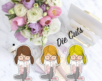 Cute Girl Reading Die Cut, Kawaii Girl With Glasses, Planner Diecuts, Cute Die Cut, Scrapbook Accessory, Paper Decor Party Decoration