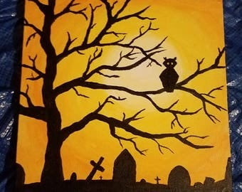 Halloween Painting of Owl in a Graveyard