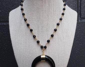 Black horn necklace