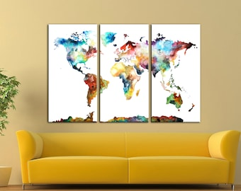 Watercolor World Map Wall Art Canvas Print Wall Decor Canvas Wall Art Large  Canvas Art Home
