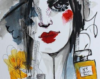NATXA - Le Parfum / original drawing, painting, portrait, fashion, perfume