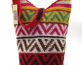 BOHEMIAN CROCHETED GABACHA Bag Medium Hobo Handbag Arrows Design