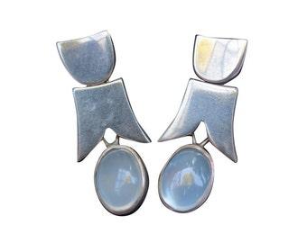 Vintage Moonstone Sterling Silver Chandelier Earrings
